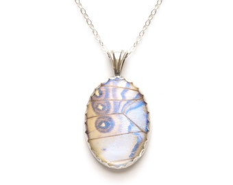 Real Butterfly Jewelry Pearl Morpho Pendant Sterling Silver