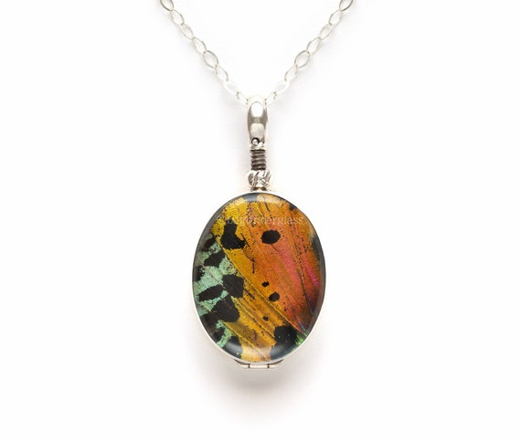 Sunset Moth Wing Necklace Reversible Sterling Silver