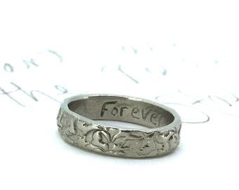 10k white gold wedding band ring . 4mm engraved vine leaf stacking ring . gold heirloom wedding band ring . handmade artisan wedding ring