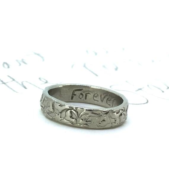 10k White Gold Wedding Band Ring 4mm Engraved Vine Leaf