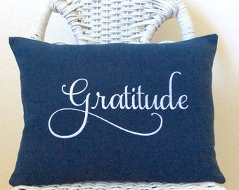 Gratitude Pillow Inspirational Pillow INSERT INCLUDED. Word Pillow Choose your  Fabric Color.