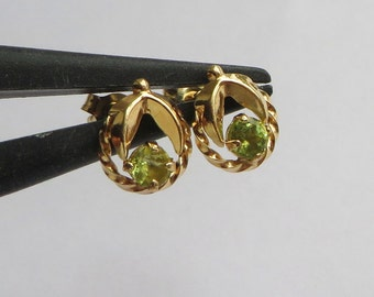 Petite Peridot Earrings, unusual 14K Y Gold setting, free US first class shipping on vintage items