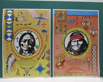 Native American 2 Posters Geronimo Sitting Bull Vintage Wall Art Boys Room Indian Apache Sioux Set Southwestern