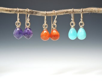 Dainty Drop Earrings, Amethyst, Carnelian, or Amazonite in 14kt Gold, Elegant