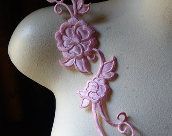 Rose Pink Flower Applique for Headbands, Costumes Iron On IRON 44rp