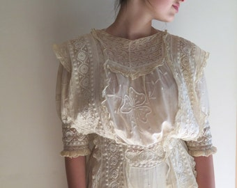"Victorian Cotton Gown with Embroidery and Lace Antique Long Dress Cotton Lawn Circa Early 1900's Size 27"" Waist"