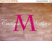 ON SALE Dance Floor Decal, Wedding Decor Monogram, features Large initial with names, personalized decal