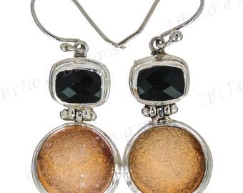 "1"" Druzy Drusy Onyx Gemstones 925 Sterling Silver Earrings"