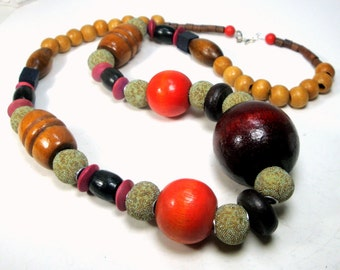 Earthy Long Big Bead Necklace, My Design, Wood and Resin, Tan Green Red Brown, Fun Sample.1980s