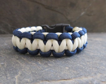 Blue and White Paracord Bracelet  Cord Bracelet Survival Bracelet   Survival Paracord Bracelet Camping Outdoor Wear