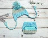 Newborn Baby Boy Crochet Ear Flap Pom Pom Hat and Diaper Cover Set Teal Khaki and Mint Stripes