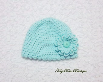 3 to 6 Month Old Baby Girl Crochet Flower Hat Light Teal