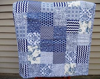 Modern Baby Quilt - Baby Boy Quilt - Toddler Quilt - Navy Blue Nursery - White Baby Blanket - Patchwork Baby Blanket - Quilted Baby Blanket