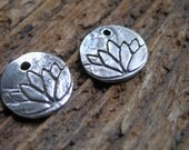 lotus - antiqued sterling silver small charm or pendant - pair