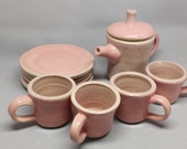 Pink and Lavender Tea set - Wheel thrown white stoneware clay teapot, 4 cups, and 4 plates - Fully functional pottery