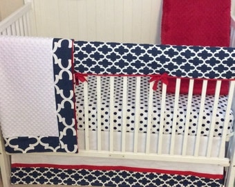 Bumperless Crib Bedding Set Red White and Blue