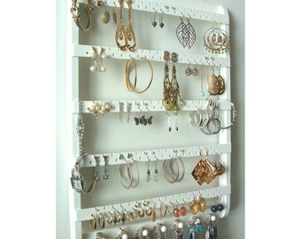 Earring Holder Jewelry Organizer, White Stain, Provides Post Earrings, Hooks, and Hoops, Elegant Earring Storage, Necklace Rack, Wall Mount