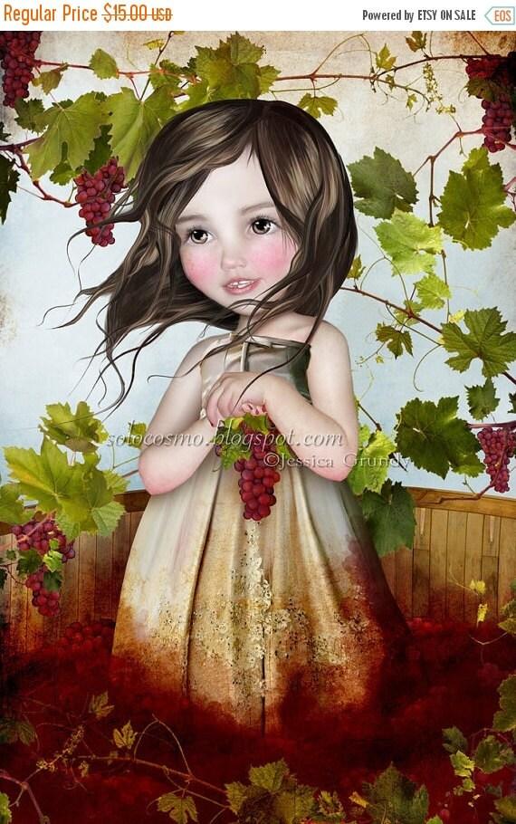 """SUMMER SALES EVENT Fine Art Print - """"sombrer dans"""" - Little Vineyard Girl - 8x10 or 8.5x11 Medium A4 Premium Fine Giclee Print Jessica von B"""