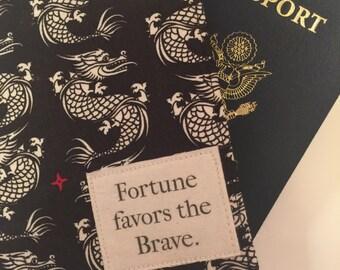 Passport Cover, passport wallet, fortune favors the brave, passport case, multi compartment with closure