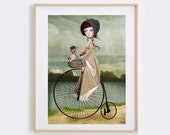 Chihuahua Art Print - Girl Riding Penny Farthing With Chihuahua - Penny For Your Thoughts