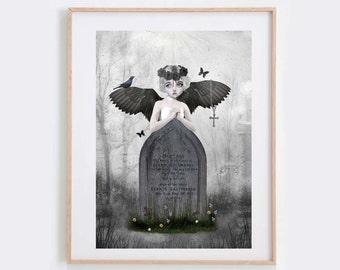 Gothic Art Print - Gothic Angel - Wall Art - Fallen Angel