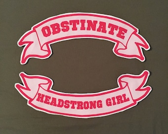Obstinate, Headstrong Girl Jane Austen quote back patch set banner Pride and Prejudice pink literature