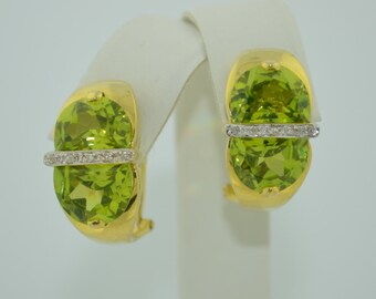 Stunning 14K Yellow Gold Earrings with Amazing Peridots & DiamondS