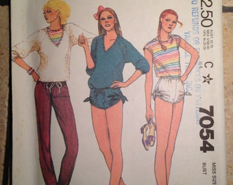 McCall's 7054 Size 12 Misses' Top, T-Shirt, Pants, and Shorts Pattern UNCUT