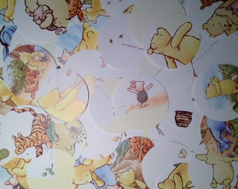 "60 Large 2"" Die Cut Circles from Children's Pooh Journal for Paper Crafting"