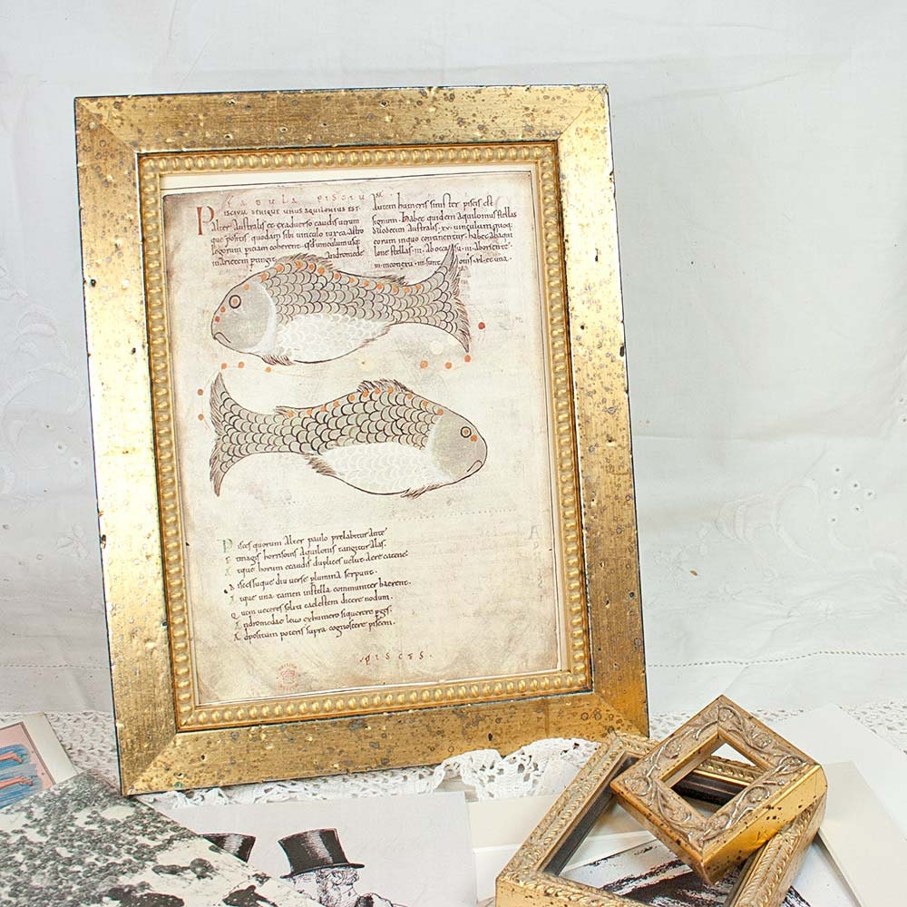 Distressed cottage style gold frame with inner gold boule for Bungalow style picture frames