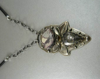 Smokey Quartz, Pyrite , Porcelian Jasper Gemstone pendant sterling silver leather chain modern original ooak bold unique industrial edgy