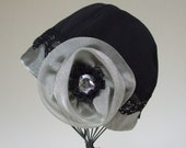 Holiday Fleece Cap Meets Fancy with Organza, Lace, and Sparkle, Water Resistant Elegance, Women Medium