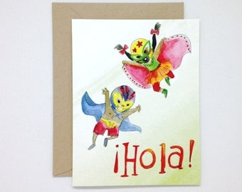 Hola Luchadores Greeting Card