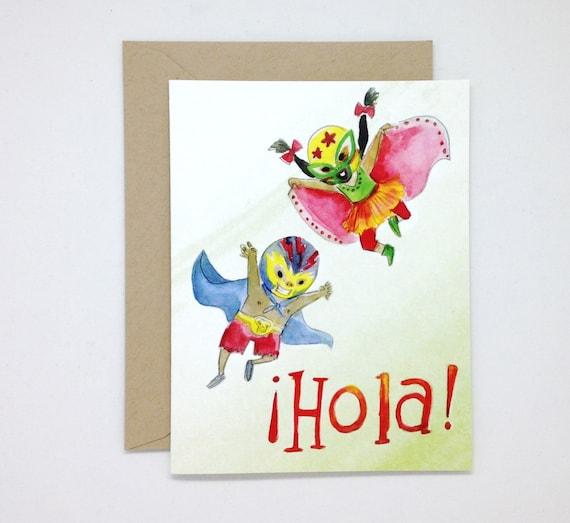 Hola Luchadores Greeting Card