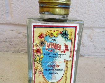 Vintage Antique Perfume Apothecary Glass Tonic Bottle Art Nouveau Label Lavender Oil Shabby Chic Decor