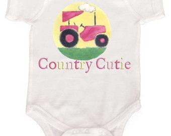 Baby Girl Country Bodysuit Funny Baby Girl Romper Tractor Romper