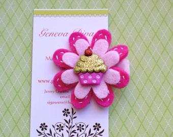 Cupcake with Green Glitter Felt Flower Hairclip
