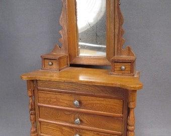 Antique Dollhouse Furniture - Schneegas Golden Oak 5 Drawer Dresser with  Swivel Mirror