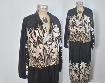 SALE 40% OFF DESIGNER 1970s Maxi Dress / Mac Tac for Leonard Sunshine / S-L