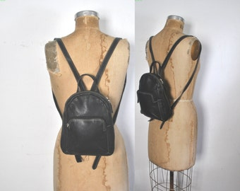Backpack Bookbag / black leather