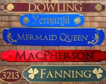 Personalized Quarterboard signs ~ using the lost art of HAND routed, carved, and painted.
