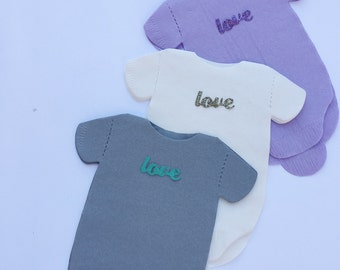 Napkins!  Any quantity baby shower shirt shaped or bib shaped napkins with glitter word LOVE!