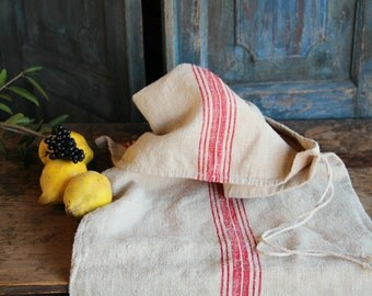 Nr. A 352:   Grain Sack antique HAPPY RED pillow benchcushion 55.12 long wedding decoration