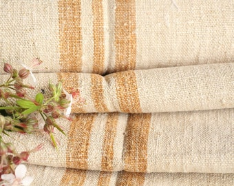 P18  antique handloomed CARAMELL wedding decor, holiday feeling 11.14yards , french lin, cushion, pillow, tablerunner