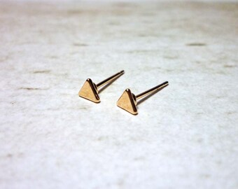 Rose Gold Triangle Stud Earrings, Dainty Earrings