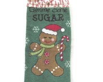 Ready To Ship - Hanging Christmas Towel - Gingerbread Boy Hanging Kitchen Towel - Velour Christmas Kitchen Towel - Gingerbread Hanging Towel