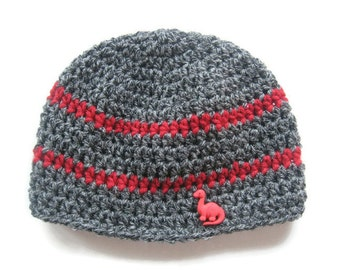 Ready To Ship -  Crochet Gray and Red Baby Hat - Crochet Dinosaur Hat  - Gray Hat With Dinosaur Button - Size 12 to 24 Months