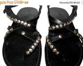 20% OFF Black Studded Triple Leather Sandals for Men & Women