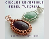 Circles Reversible Bezel Pendant, Wire Jewelry Tutorial, PDF File instant download