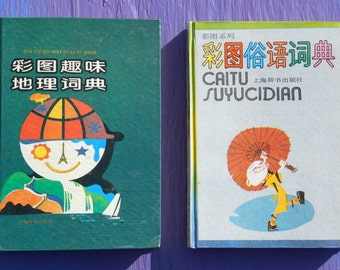 Vintage 90s lot of 2 illustrated children's books Caitu Suyucidian and Cai Tu Qu Wei Di Li Ci Dian world culture history whimsical cool art